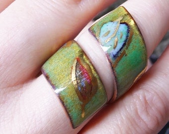 Spiral Ring, Fired Enamel on Copper. Leaf patterns on Glossy Green