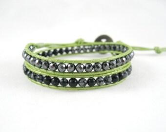 Lime Green Bracelet, Hematite Bracelet with Snowflake Obsidian, Double Wrap Bracelet