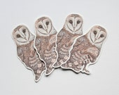 4 Barn owl illustrated glossy vinyl stickers made from my original watercolour art