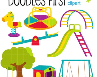 Kiddie Playground Digital Clip Art for Scrapbooking Card Making Cupcake Toppers Paper Crafts