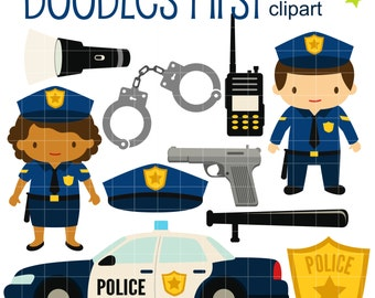 Little Police Digital Clip Art for Scrapbooking Card Making Cupcake Toppers Paper Crafts