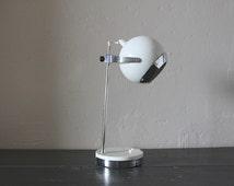 Mid Century White Chrome Adjustable Eyeball Desk Lamp Eyeball Orb Lamp