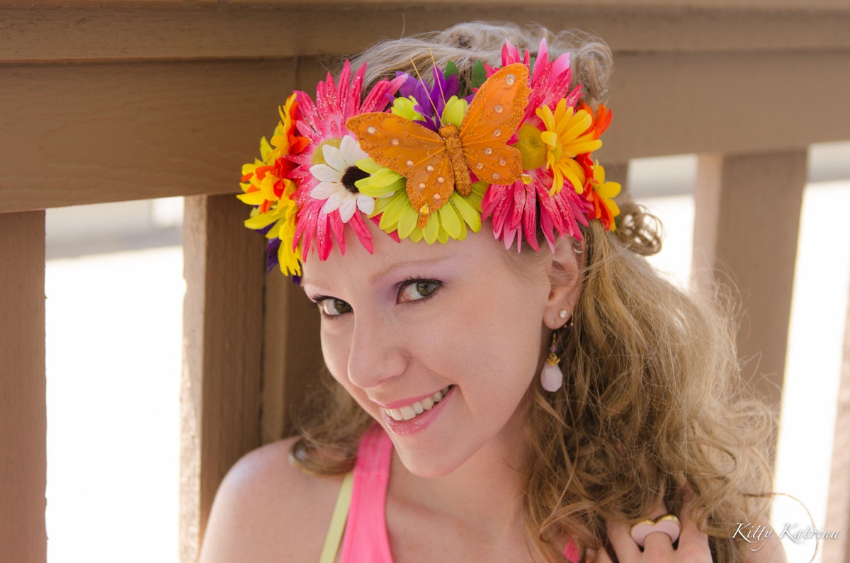 Sunflower Daisy Flower Crown Flower Headband Butterfly Headband