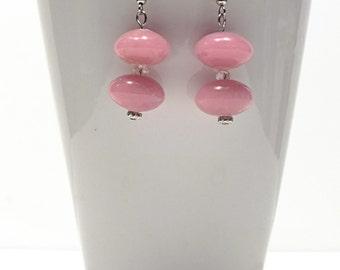 Pink Earrings - Drop Earrings, Pink Bead Earrings - Dangle Earrings