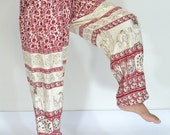 Thai Handmade Yoga Pants Red and cream color/Harem Pants/Elephant Print design/Drawstring elastic waist/Comfortable wear/Genie/Lounge wear.