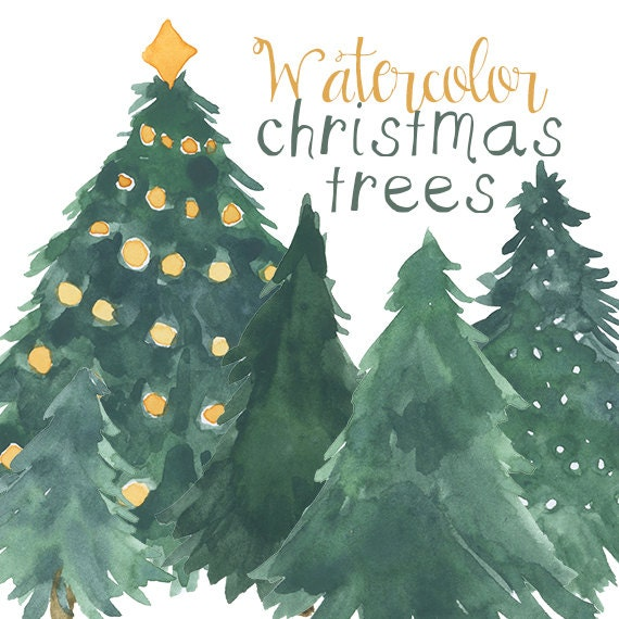 Watercolor Christmas Tree Clip Art For Scrapbooking Holiday