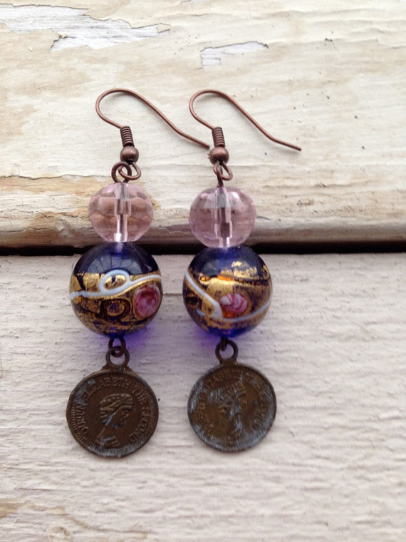 Vintage style bronze earrings with glass stones and coins pendants.