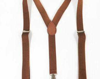 Men's Suspenders, brown suspenders, for children 6+, teens and adults. suspenders for barn weddings, barnyard celebrations