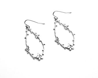 Garland Flower Earrings, Dangle Earrings, Wedding Jewelry, Bridesmaid Jewelry, Mother's Day, Graduation Gift