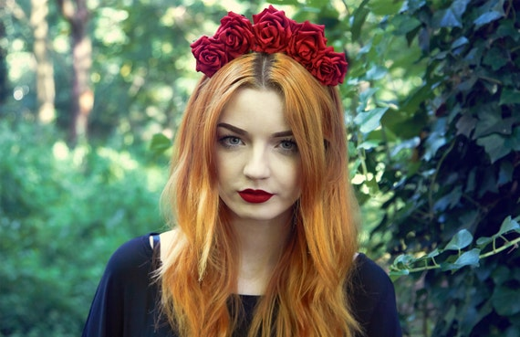 Image result for red rose crown headband