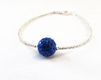 CLEARANCE Silver and blue stacking bracelet, silver plated seed bead, blue shamballa bracelet, gift for teen, handmade in the UK