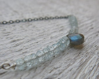 Aquamarine necklace with labradorite briolette and oxidized sterling silver. Minimalist aquamarine necklace. March birthstone.