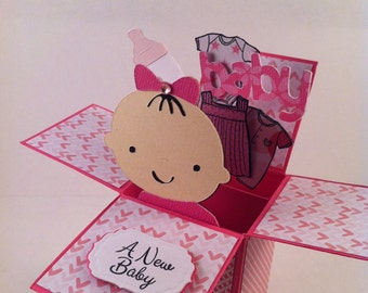 Baby Girl Card in a Box / Pop Up Box / Baby Shower Card or Invitation