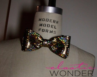 Hologram Laser Foil Dot Printed Bow Tie Golden Evening Special Event New Years Eve 2014 Necktie