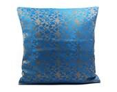 Blue Brocade Decorative throw Pillow Cover Silk Pillow 18x18,Ultramarine blue Pillow Accent Pillow Sofa Pillow Couch Pillow floor Pillow bed