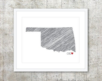 State of Oklahoma Art Print - Custom State Love Poster - Slate Grey Red Heart - Modern Wall Art