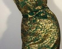 FREE  SHIPPING  1950's Metallic Gold Dress