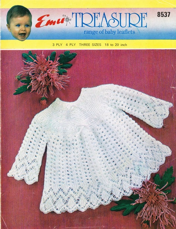 Knitting Vintage Things : Items similar to baby lacy matinee dress vintage knitting