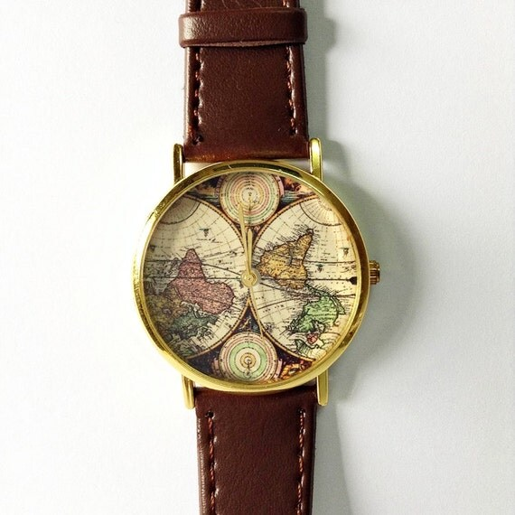 Carte de montre, montre en cuir de Style Vintage, montres femmes, Mens Watch, copain Watch, mappemonde, Brown,