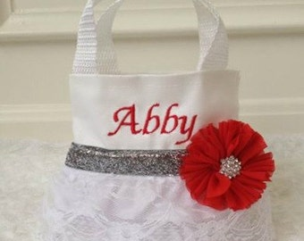 Silver and Red with White Lace Flower Girl Purse, Flower Girl Gift, Birthday Gift
