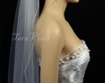 "1 layer 30""x72"" Beaded Edge White or Off White or Ivory,  Veil  | wedding veil, bridal beaded edge veil"