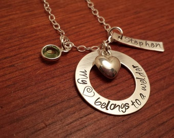 "Hand stamped personalized welder necklace ""My (heart) belongs to a welder""-Welder's wife necklace-Love my Welder-Welder"