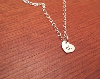 Hand stamped personalized sterling silver heart initial necklace-Heart necklace-Sterling silver heart necklace-Initial heart-Birthday gift