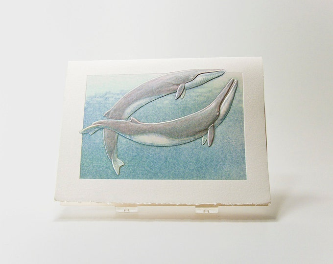 Fin Whales Note Card. Love. Anniversary. Letterpress. Embossed. Single Card. Blank inside.