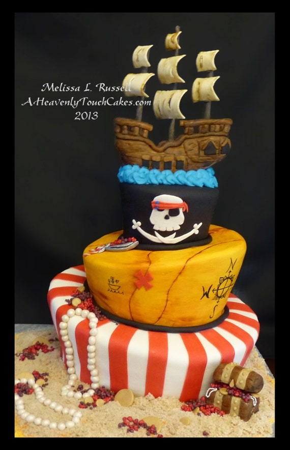 Edible Cake Images Pirate : Pirate Ship Cake Topper Fondant Edible Birthday Party