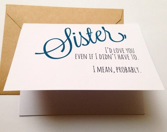 sister birthday card  etsy, Birthday card