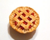 Whole Cherry Pie Magnet, Polymer Clay Food Decor