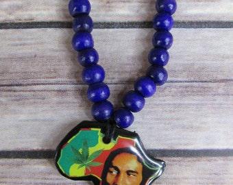 Bob Marley Rasta Necklace/Medallion (Africa Mini/Purple Bead)