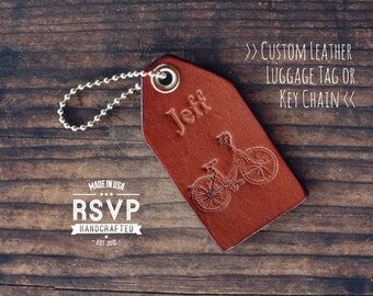 Custom Leather Luggage Tag, Initials Key Chain, Wedding Party Favor, Personalized Keychain,Leather Keyring, gift, bicycle, bike, sport, Name