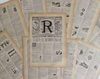 A4 1922 CALLIGRAPHY Alphabet Letter R Illustrative Litho Print French Larousse // FREE SHIPPING // B3526