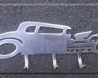 Rat Rod Coupe Metal Art with Hooks