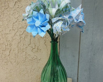 Blue and Green Origami Flower Arrangement