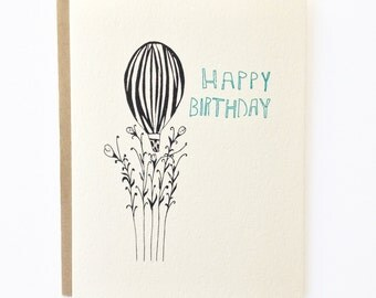 Go For a Ride Happy Birthday Hot Air Balloon - Hand Illustrated Birthday Card - Blank Inside