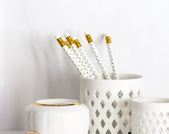 Gold Foil Swiss Dot Pencils, Set of 6