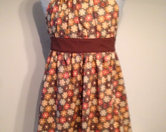 Brown Floral WomensHalter Apron