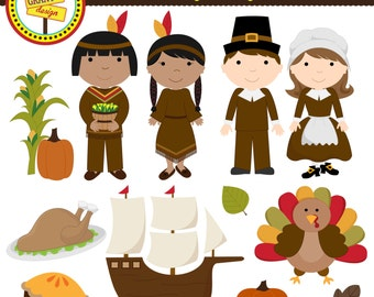 Thanksgiving Clipart - Thanksgiving Clip Art - Cute Digital Clipart - Personal Use - Commercial Use - Card Design, Scrapbooking,  Web Design
