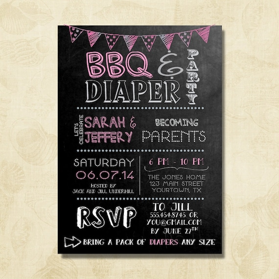 Diaper Party Invitation Pink Baby Girl Shower Invitation Couples Baby