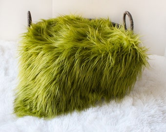 Olive Green Faux Fur Photography Prop, Faux Fur Nest,  Newborn Photography Prop, Basket Stuffer, Filler, Layering Blanket.
