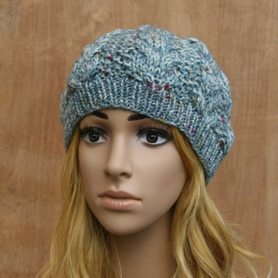 Hand Knit Knitted Womens Ladies Beanie Cable Hat by CappelliHats