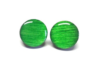 GREEN earrings, Wood stud earrings. Round wood earrings, Wood studs, Wood earrings, Green round earrings