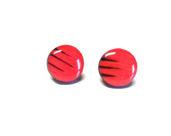 Coral earrings, Wood stud earrings. Round wood earrings, Wood studs, Wood earrings, Salmon round earrings, wood burned studs
