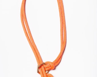 Clover Knot Necklace - rope necklace, knot necklace, macrame necklace, orange necklace, gift for her