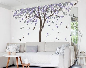Nursery Willow Tree Wall Decal Wall Sticker   Tree Wall Decal Birds    MM005_B