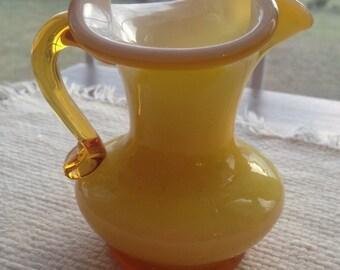 Handblown Glass  Pitcher/Creamer/Vase in Yellow/White