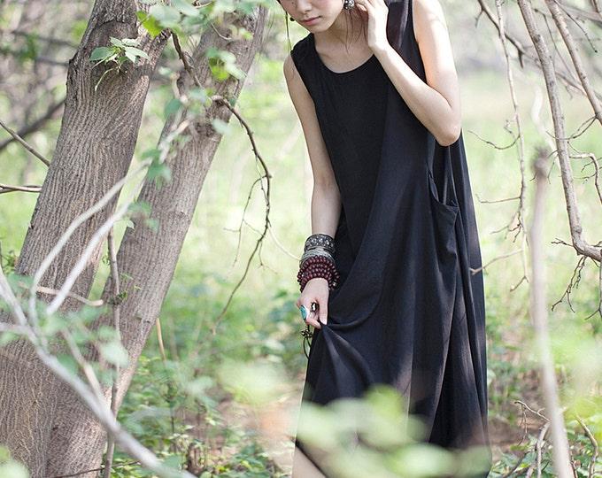 Women long dress - Sleeveless Dress - Round Neck - 2 pockets - Round base - Summer/autumn dress - Linen dress - Made to order