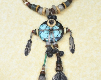 Vintage Sterling Silver, Turquoise, Feather Shell Necklace